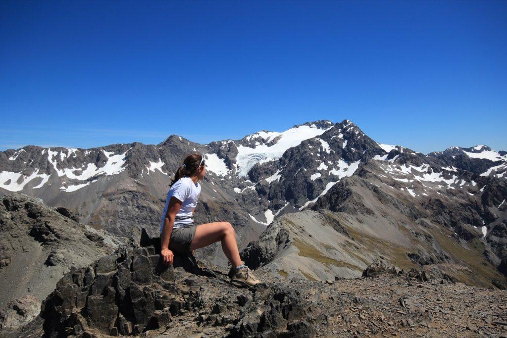 Au sommet, vue sur le glacier Crow